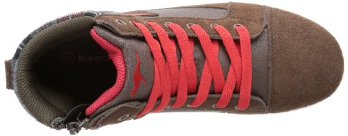 KangaROOS Gildo - Zapatilla alta de lona infantil marrón - Braun (dark brown/flame red)