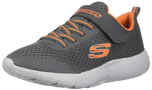 Skechers Kids Boys' DYNA-LITE Sneaker, Charcoal/Orange, 3.5 Medium US Big - Sneakers Kids Orange