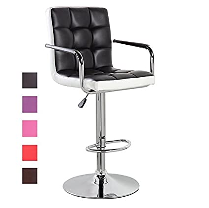 Modern Leather Contemporary Swivel Adjustable Height Bar Stool With Backs  And Arms Bar Chair Black White