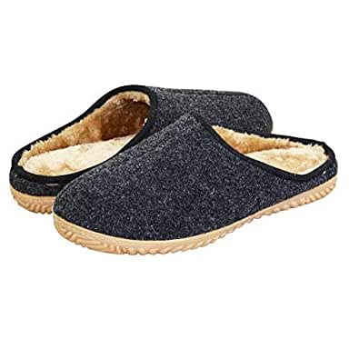 VLLY Mens Comfortable Memory Foam Slipper Cozy Slip On Rubber Sole House Shoes Size for 10 Black
