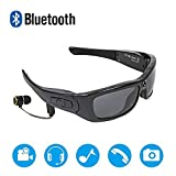 Wearable Bluetooth Sunglasses 1080P Camera Glasses Mini DV Video Recorder Bluetooth Headphone Handsfree Driving Glasses Sport Cycling Sunglasses with Interchangeable Night Vision Lenses