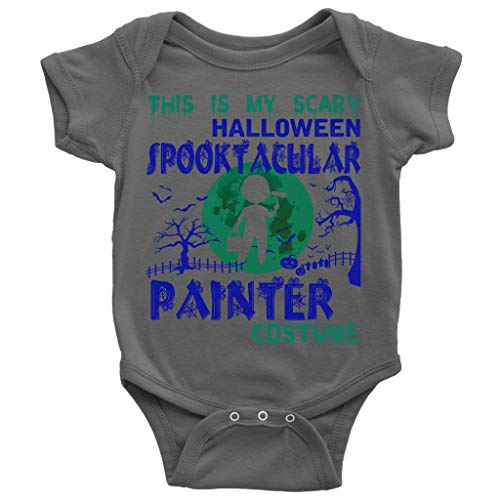I Am A Painter Baby Bodysuit, Scary Painter Costume Cute Baby Bodysuit (12M, Baby Bodysuit - Dark Gray)