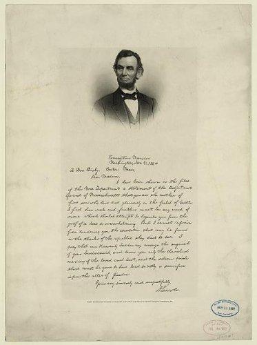Foto: de carta de Abraham Lincoln a la Señora Bixby, 1891 ...