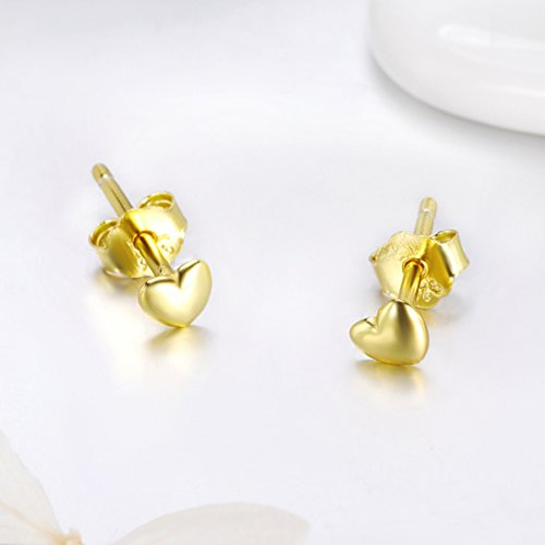 Bamoer 18K Gold Plated Love Heart Shape Earrings Stud for Anniversary Gift by BAMOER (Image #3)