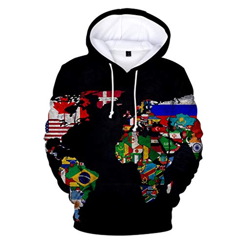 Bravetoshop Unisex 3D Casual Hoodies Realistic Graphic Patterns Print Novelty Fashion Hoodie Pullover Sweatshirt (Map-5,M) (Best False Nails Uk)