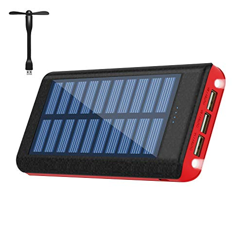 Solar Charger Power Bank 25000 mAh Portable Charger 3 Output Battery Pack with Flashlight Including Small USB Fan Compatible Android Phone Tablet and Other Smart Devices
