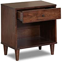 Vilas Contemporary 1-drawer Tobacco Finish Rubberwood Nightstand