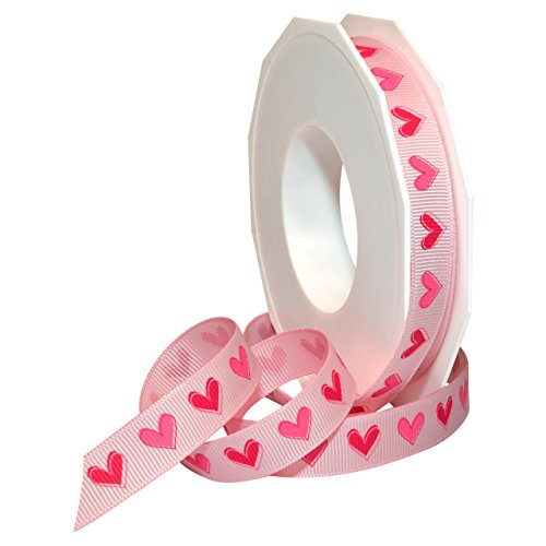Morex Ribbon Polyester Ribbon Tender Heart Ribbon, 5/8-Inch by 20-Yard, Pink -