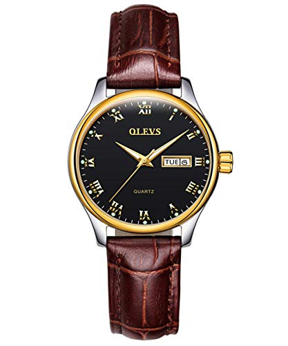 - OLEVS Women's Business Dress Watches Luminous Analog Quartz Alloy Genuine Leather Strap Buckle Band Roman Number Calendar Date Day Dial Casual Wristwatch for Lady Mother Lover Waterproof Classic Brown