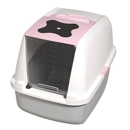 (Catit Hooded Cat Litter Pan, White/Pink)