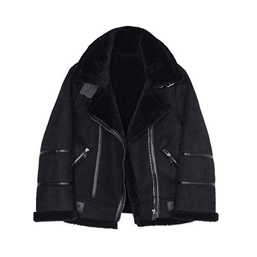 gruesa chaqueta Piel invierno hembra piel de Negro tIxOTz