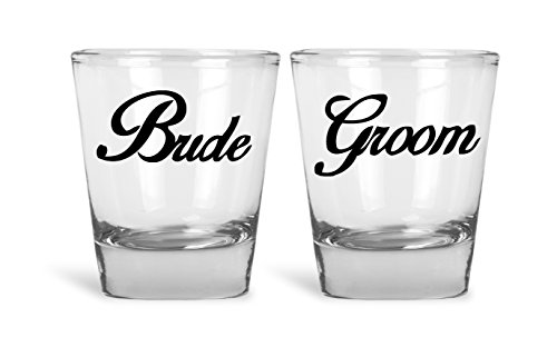 Bride And Groom Couples Funny Novelty Shot Glasses | Great for Bride, Groom, Bachelor and Bachelorette Party by Mad Ink Fashions]()