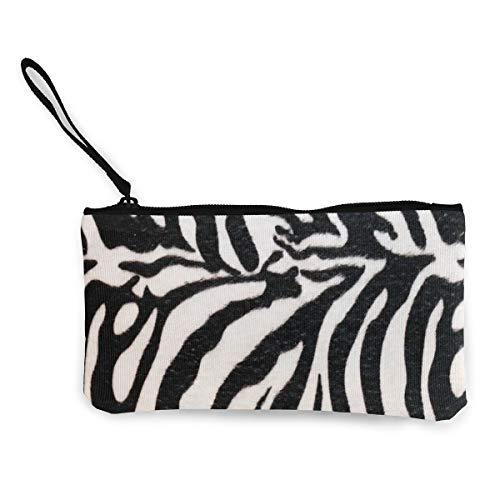 - Coin Purse Animal Print Zebra Texture Girl Zipper Canvas Purse Wallet ChangeDesigner Bag