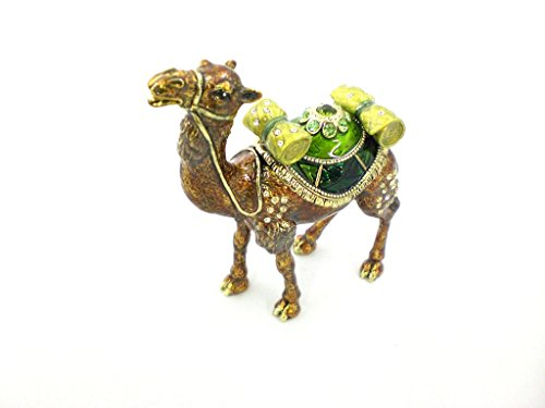 Camel Standing Trinket Box, Swarovski Crystal, Hand Painted Brown & Green Enamel Over Pewter, Inside of Box with Lovely Enamel, L 3.25 X H 3.75 X W 1.25
