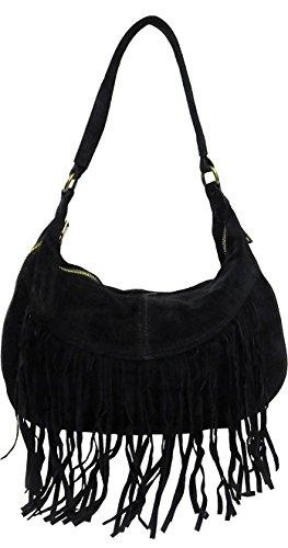 Genuine Italian Suede Leather Fringe Big Shoulder Handbag By Glam Attack