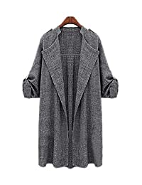 ARJOSA Women's Rolling-Up 3/4 Sleeve Open Front Cardigan Jacket Trench Coat