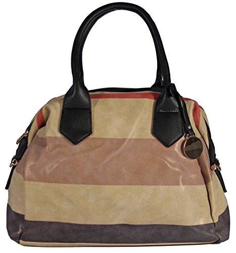 Tollery-Shoulder Bag Handle Bag Faux Leather Trendy Striped Bowling Bag Shoulder Bag Handbag Women's 40x29x12cm (B x H x T)