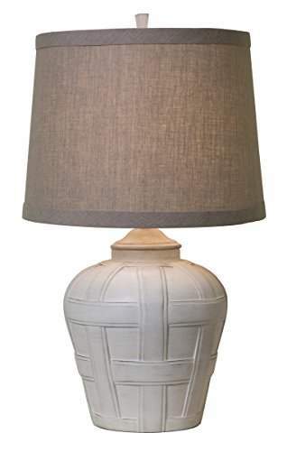 Thumprints 1175-ASL-2129 Seagrove Tan Shade Table Lamp, Distressed White Matte Finish