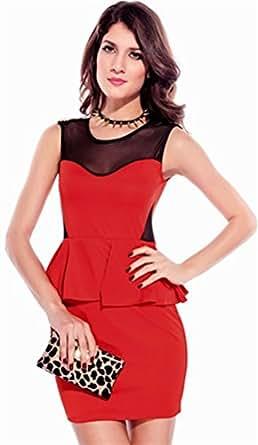 Fashion Neckline Punk Design Women Career Peplum Dress