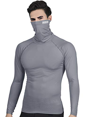 DRSKIN Turtleneck Compression Top Thermal Cool Dry Sports Shirt Baselayer Running Long Sleeve Men (Turtleneck SG04, L) ()