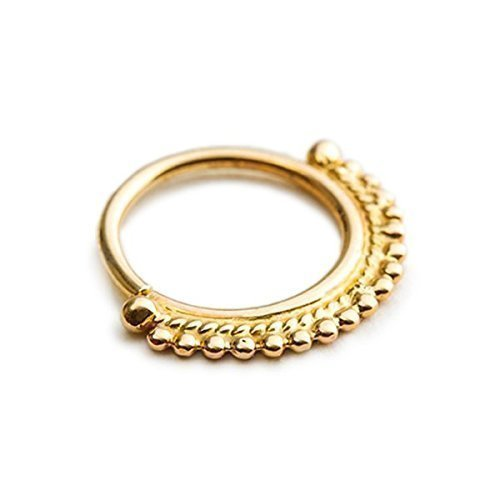 Amazon Com Indian Nose Ring Solid 14k Gold 20 Gauge Ethnic