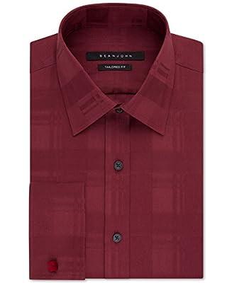 Sean John Mens Big & Tall French Cuff Dress Shirt Red 17 1/2