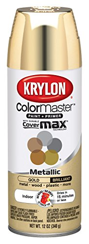 Krylon K15151002 ColorMaster Paint + Primer, Metallic, Gold, 12 oz.