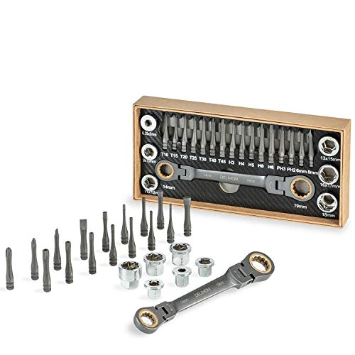 (Delihom Ratcheting Multi Socket Wrench Set Patented Multi-Functional Box End Wrench Metric with Innovative Adapter Sockets and S2 Steel Screwdriver Bits)