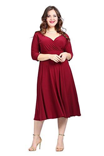 para 3 Vestido borgoña mujer 4 manga Angelino vestido qpXZqg