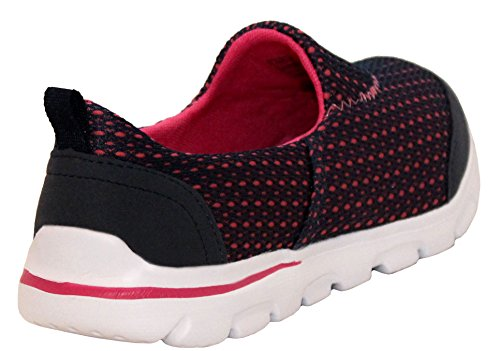 A&H Footwear Womens Ladies Walk Pro Lightweight Slip On Girls Go Walk Soft Touch Insole Casual Walking Running Gym Fitness Trainers Shoes UK Sizes 3-8 Navy/Fuchsia bzszoC