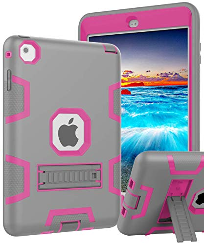 iPad Mini 5 Case,New iPad Mini 2019 Case,iPad Mini 4 Case,[Kickstand] Kids Proof Shockproof Heavy Duty Protective Cover Case for iPad Mini 5 2019 Release/iPad Mini 4/iPad Mini 4 Retina Grey Pink