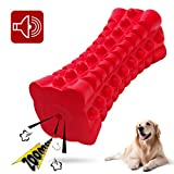 VANFINE Dog Squeaky Toys Almost Indestructible Tough Durable Dog Toys Dog chew Toys for Large Dogs Aggressive chewers Squeaky Stick Toys Puppy Chew Toys with Non-Toxic Natural Rubber (Red, Cuboid)