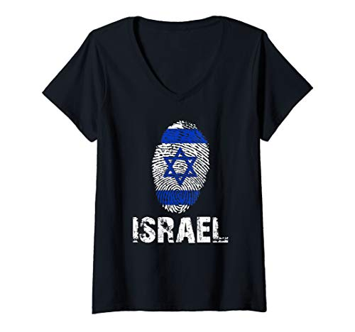 Womens ISRAEL Finger Print Flag Tshirt I Love ISRAEL for sale  Delivered anywhere in USA