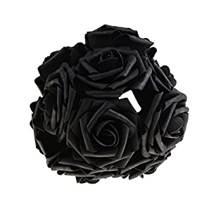 10Pcs Artificial Rose Flowers Head Party Wedding Bridal Bouquet Home Decoration Black 112