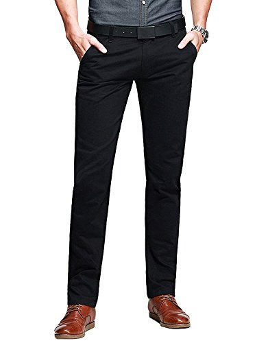 OCHENTA Mens Casual Slim-Tapered Flat-Front Pants Black Lable 33