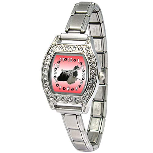 Timest - American Cocker Spaniel - Womens Stainless Steel Italian Charms Bracelet Watch BJ1099 ()