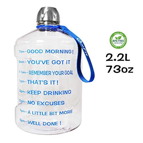 QuiFit 73oz/2.2l Water Bottle Reusable Leak-Proof Drinking Water Jug for Outdoor Camping BPA Free Plastic Sports Water Bottle with Daily Time Marked (Clear+Blue)