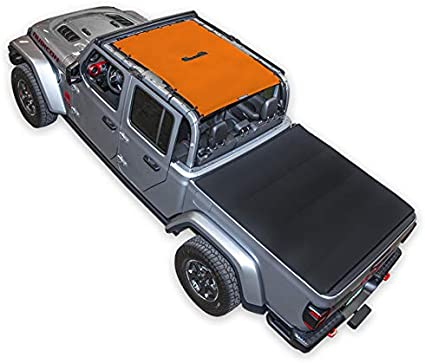 White SPIDERWEBSHADE Jeep Gladiator Mesh Shade Top Sunshade UV Protection Accessory USA Made with 5 Year Warranty for Your JT 4-Door 2018 - current