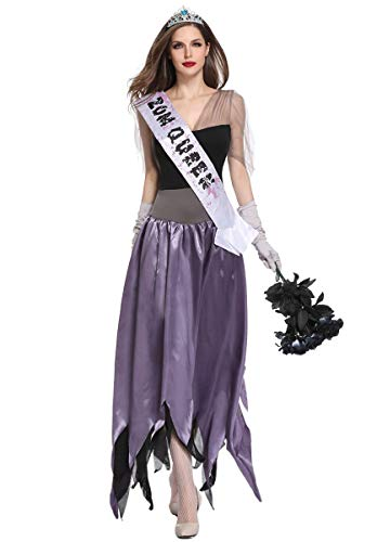 Honeystore Women's Scary Zombie Queen Bride Halloween Fany Dress Up Outfits Purple Black XL]()