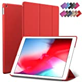 iPad Mini 5 case, ROARTZ Red Slim Fit Smart Rubber Coated Folio Case Hard Cover Light-Weight Wake/Sleep for Apple iPad Mini 5th Generation 2019 Model A2133 A2124 A2126 7.9-inch Display
