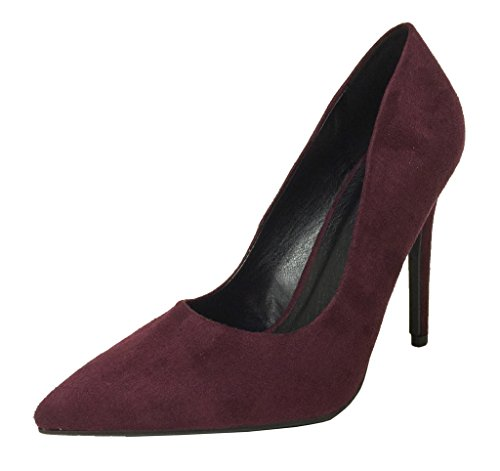 CINDY! Womens Delicious Classic Style High Heel Stiletto Pointy Toe Slip On Dress Pumps Vino Faux Suede yzm8KV