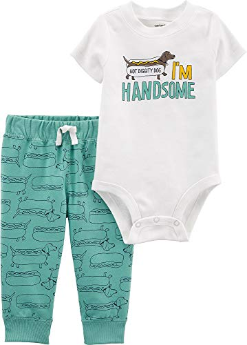 Carter's Baby Boys' 2-Piece Bodysuit Pant Sets (Ivory/Turquoise/Hot Dog, 9 Months) ()