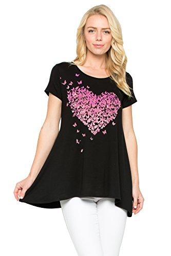 Acting Pro Short Sleeves Tee with a Pink Heart Print (L, Black) (Sleeve T-shirts 5 Short Pro)