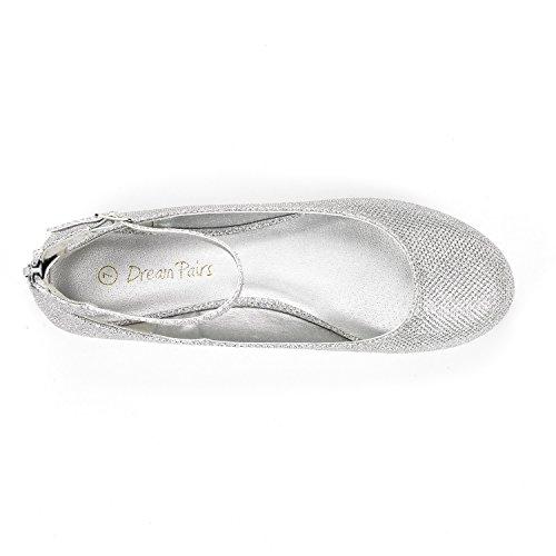 DREAM Women's Flats Silver Walking Nice Sole Glitter PAIRS Ankle Shoes Strap 00wOp