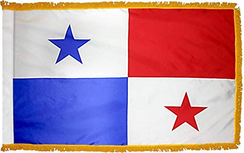 Fringe Panama - 3'x5' Panama Flag with Gold Fringe for Ceremonies, Parades, and Indoor Display