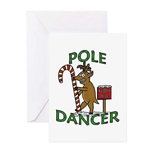 CafePress Funny Dancer Christmas Reindeer Pun Greeting Cards Greeting Card, Note Card, Birthday Card, Blank Inside Matte ()