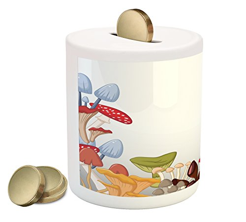 Ambesonne Mushroom Piggy Bank, Bunch of Mushrooms Toadstools Fungi Wildlife in Forest Cartoon Illustration Plants, Printed Ceramic Coin Bank Money Box for Cash Saving, ()