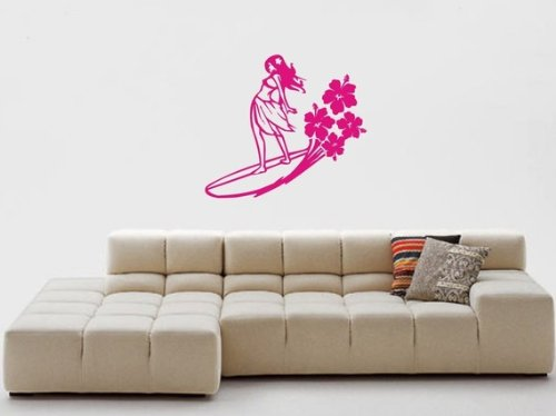 (Dabbledown Surfer Girl Decal Sticker Wall Girl Bedroom Beach Surf Nursery Child Water)