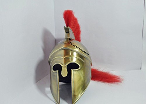 Medieval Greek Corinthian Helmet with Red Plume- Athenian Spartan Costume Armour