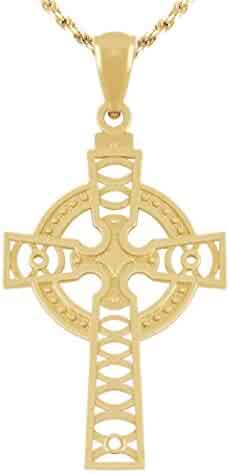 1 3/16in 14k Yellow Gold Irish Celtic Cross Pendant Charm with Necklace